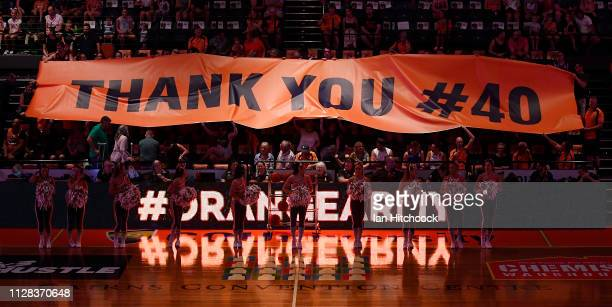 A banner is unfurled to commemorate Alex Loughton's last ever home game before his retirement during the round 17 NBL match between the Cairns...