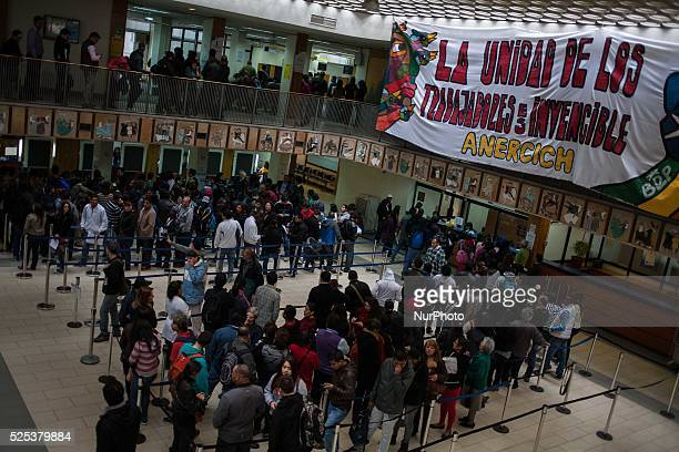 A banner of a workers union inside a citizen center in Santiago de Chile In Santiago thousands of civil servants participate in the daylong...