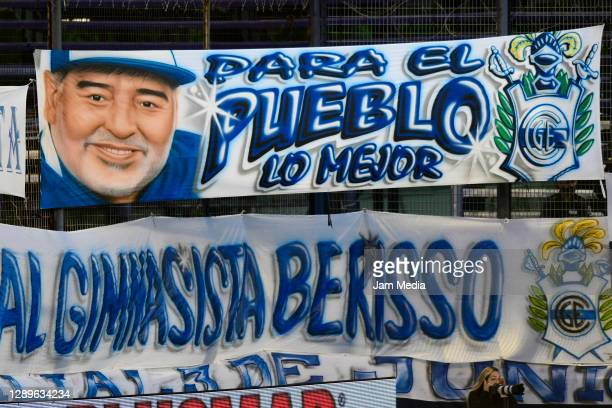 Banner of Diego Maradona in the stands during a match between Gimnasia y Esgrima La Plata and Huracan as part of Copa Diego Maradona 2020 at Juan...