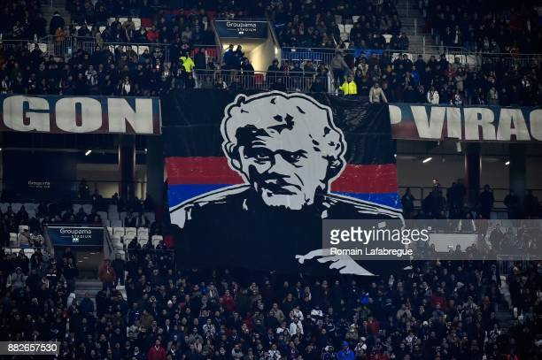 Banner of fans for Joel Bats of Lyon during the Ligue 1 match between Olympique Lyonnais and Lille OSC at Parc Olympique on November 29 2017 in Lyon
