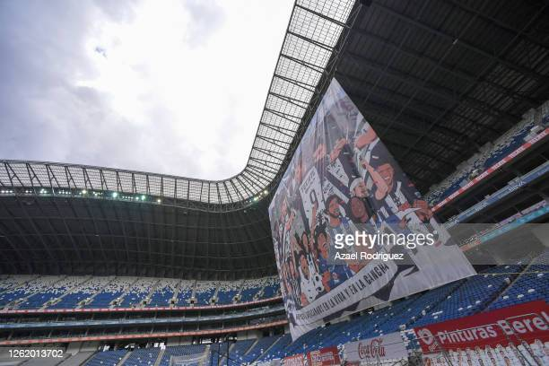 Banner of fans is display prior the 1st round match between Monterrey and Toluca as part of the Torneo Guard1anes 2020 Liga MX at BBVA Stadium on...