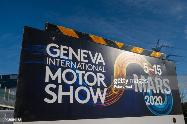 Banner of GIMS 2020 is being displayed after cancellation of the Geneva Auto Show on February 28, 2020 in Geneva, Switzerland. Swiss authorities...