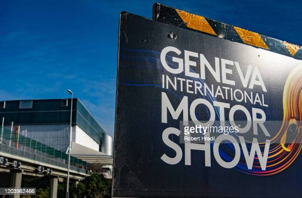Banner of GIMS 2020 is being displayed in front of the Palexpo building after cancellation of the Geneva Auto Show on February 28 2020 in Geneva...