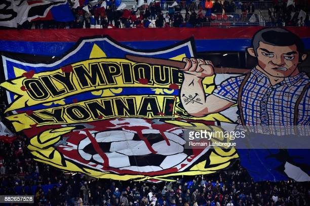 A banner of Lyon's ultra during the Ligue 1 match between Olympique Lyonnais and Lille OSC at Parc Olympique on November 29 2017 in Lyon