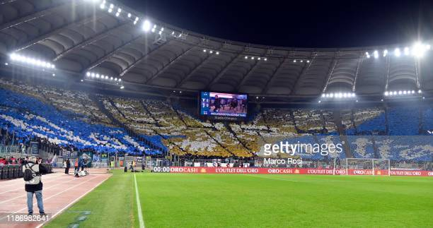 Banner of SS Lazio fans prior to the Serie A match between SS Lazio and Juventus at Stadio Olimpico on December 7 2019 in Rome Italy