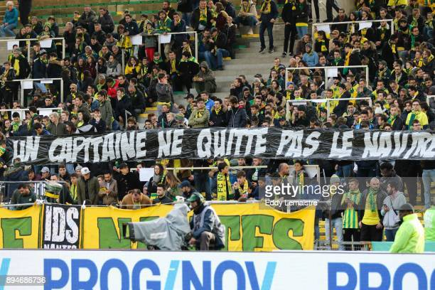 Banner of supporters of Nantes against Leo Dubois of Nantes who wants to leave Nantes for another team during the Ligue 1 match between Nantes and...