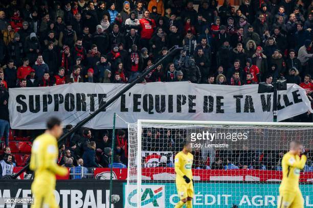 banner of supporters of Rennes during the french National Cup match between Rennes and Paris Saint Germain PSG on January 7 2018 in Rennes France