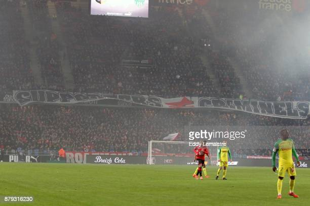 Banner of supporters of Rennes during the Ligue 1 match between Stade Rennais and Nantes at Roazhon Park on November 25 2017 in Rennes
