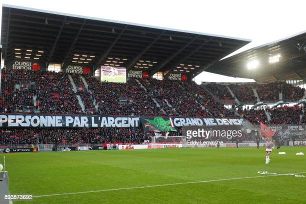 Banner of supporters of Rennes during the Ligue 1 match between Stade Rennes and Paris Saint Germain at Roazhon Park on December 16 2017 in Rennes