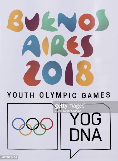 Banner of the Buenos Aires 2018 Youth Olympic Games is seen at the Olympic Village in Buenos Aires on April 27 2017