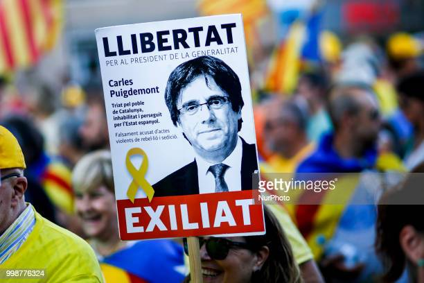 Banner of the exiled Catalonia president in Germany Carles Puigdemont during the demonstration of Independence political parties and independence...