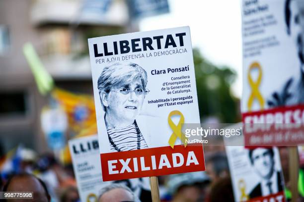 Banner of the exiled political in Scotland Clara Ponsati during the demonstration of Independence political parties and independence assosiations...