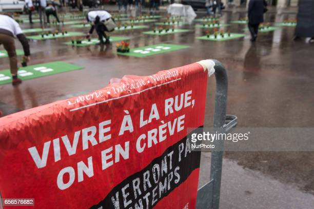 Banner of the group 'les Morts de la Rue' on the Place du Palais Royal in Paris on March 21 in memory of 501 homeless people who died in 2016 in...