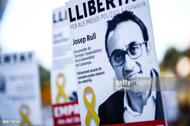 Banner of the jailed political Josep Rull during the demonstration of Independence political parties and independence assosiations against the...