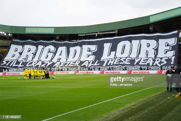 Banner of the supportrs of Nantes the « Brigade Loire » for its 20th anniversary during the Ligue 1 match between Nantes and Saint Etienne at Stade...
