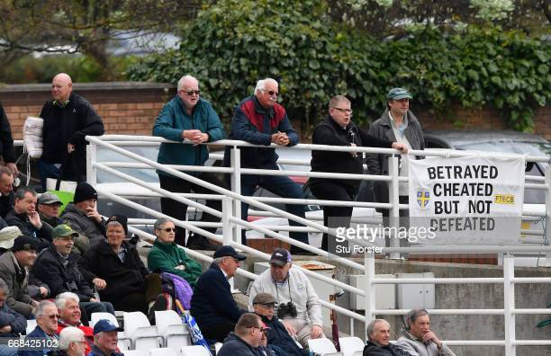 A banner on show during day one of the Specsavers County Championship Division Two match between Durham and Nottinghamshire at Emirates Durham ICG on...