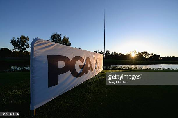 PGA banner on the 1st tee during the thrd round of the PGA Play Offs at Antalya Golf Club PGA Sultan Course on November 29 2015 in Antalya Turkey