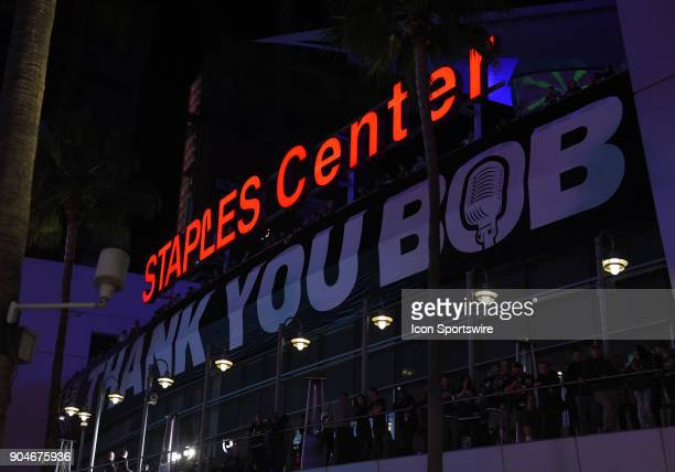 A banner outside of STAPLES Center that says 'Thank You Bob' in honor of Former Los Angeles Kings playbyplay announcer Bob Miller Night and the...