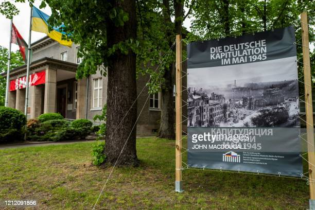 A banner outside the GermanRussian museum in the Berlin district of Karlshorst features a photograph of Berlin at the end of the second world war on...