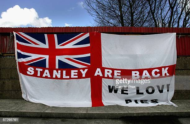 A banner proclaiming that Accrington Stanley 'are back' during the Nationwide Conference match between Accrington Stanley and Grays Athletic on April...