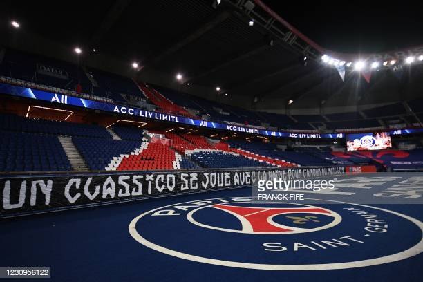 """Banner reading """"a classico is played with hate and the love of the jersey"""" prior to the French L1 football match between Paris Saint-Germain and..."""