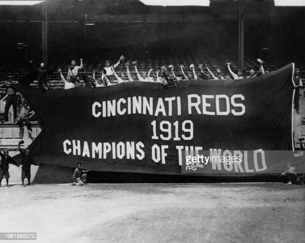 Banner reading 'Cincinnati Reds 1919 Champions of the World', after the team won the 1919 World Series. The event led to the infamous Black Sox...