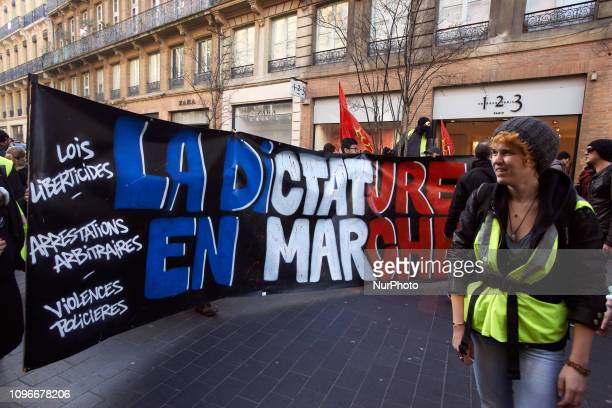 A banner reading 'Dictaorshio 'on wards'' Act XIII dubbed 'Civil disobediencequot' of the Yellow Vest movement begun peacefully but the protest...