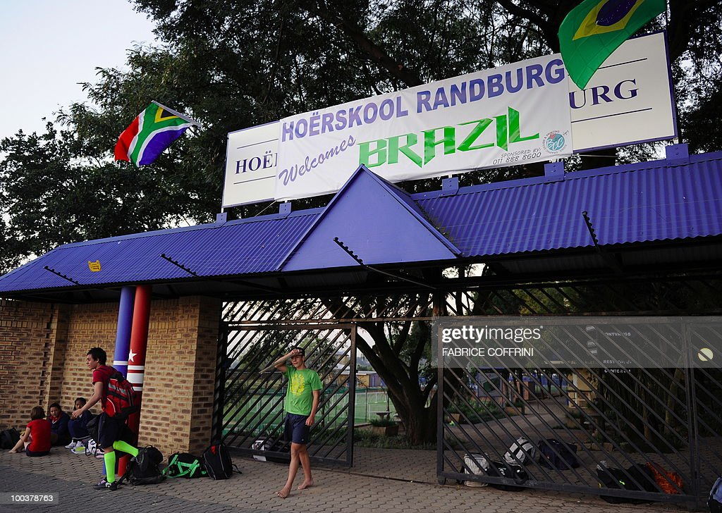 A banner reading 'Hoerskool Randburg welcomes Brazil' is seen on the top of the gate of the Randburg High School, on May 24, 2010 in Johannesburg. Randburg High School will be the Brazil training centre during the upcoming FIFA Football World Cup in South Africa.