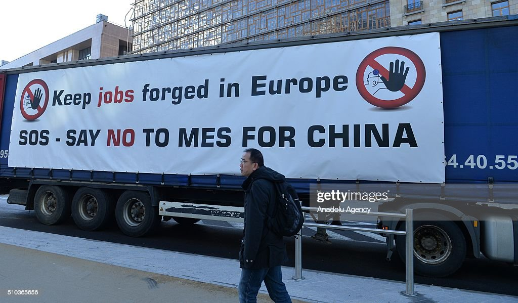 European workers of steel industry stage protest in Belgium : News Photo