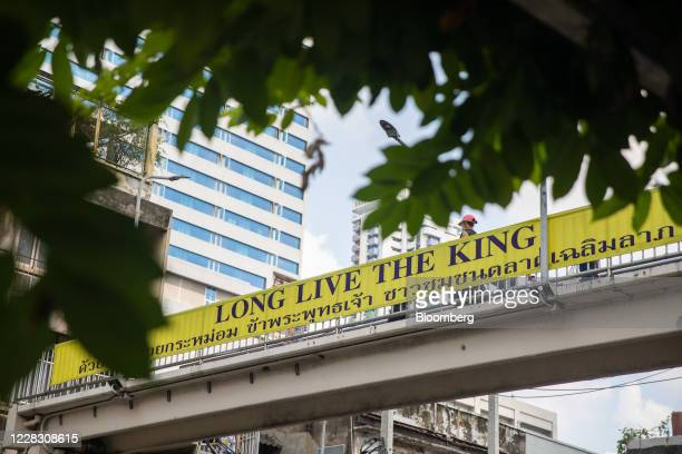 A banner reading Long live the King is displayed on an overpass in Bangkok Thailand on Wednesday Sept 2 2020 Thailand has reported zero...