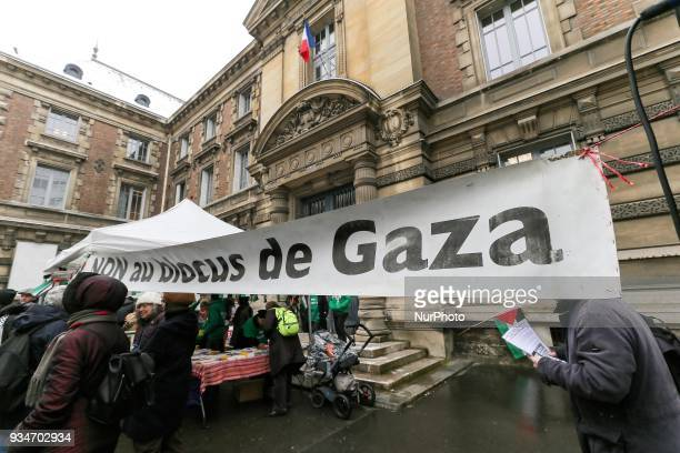 A banner reading « No to the Gaza Blockade » during a demonstration on March 19 in front of the court of Versailles near Paris in support of French...