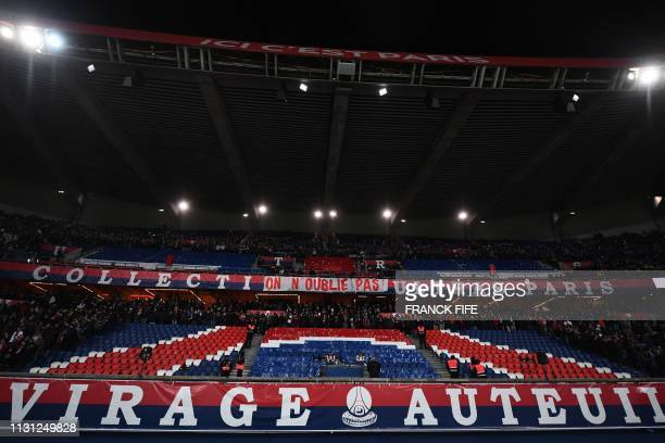 TOPSHOT A banner reading We haven't forgotten has been set up by Paris' supporters ahead of the French L1 football match Paris SaintGermain vs...