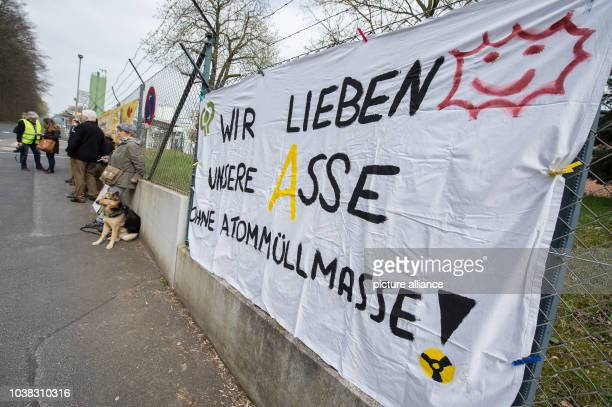 A banner reading 'We love our Asse without atomic waste' can be seen at a demonstration of the 'AsseIIKoordinationskreis' in front of the Asse shaft...