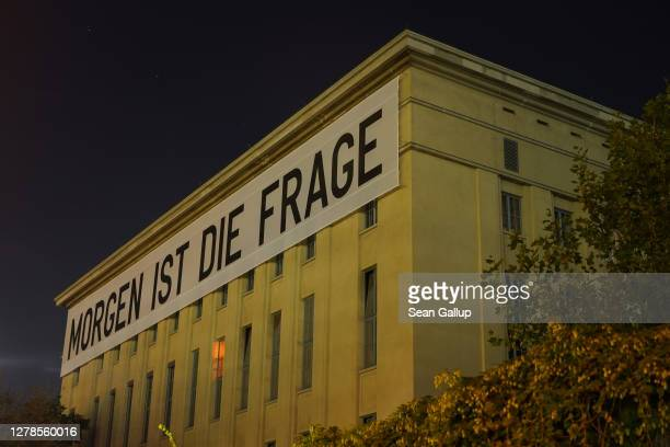 """Banner reads """"Tomorrow is the question"""" at Berghain club during the coronavirus pandemic on September 30, 2020 in Berlin, Germany. Clubs in Berlin..."""