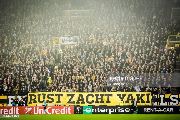 banner rust zacht yaki for Abubakari Yakubu during the UEFA Europa League group K match between Vitesse Arnhem and sv Zulte Waregem at Gelredome on...