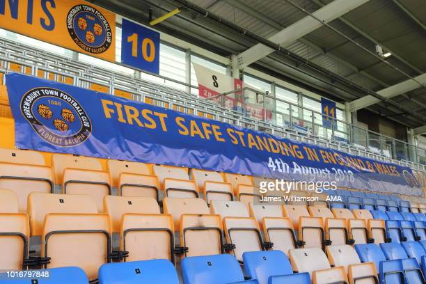Banner saying First Safe standing in England Wales 4th August 2018 attached to the front of the safe standing area during the Sky Bet League One...