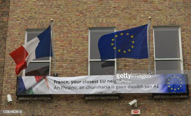 Banner saying 'France, your closest EU neighbour' seen at the front of the French Embassy, in Dublin city center. Ireland is going back into a full...