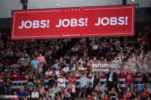 A banner saying JOBS during the rally President Trump and Vice President Mike Pence held a rally at the US Bank Arena in Cincinnati Ohio