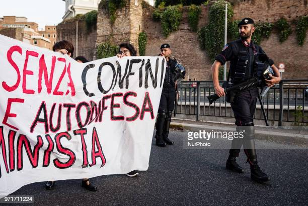 A banner saying quotfight without border feminist solidarity and selfdefensequot during a rally in Rome Italy on June 11 2018 against Italian...