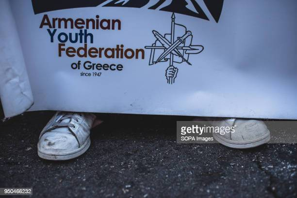 A banner seen during a demonstration to mark the 103rd anniversary of the Armenian Genocide by Turkey Protesters marched to Syntagma Square to...