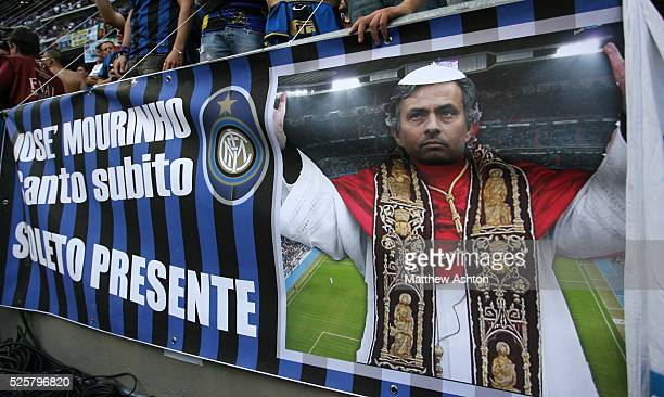 A banner showing Jose Mourinho the head coach / manager of Inter Milan dressed as the pope | Location Madrid Spain
