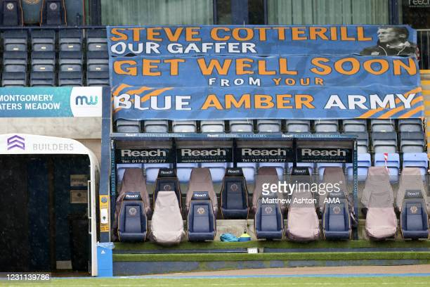 Banner showing support for Shrewsbury Town manager Steve Cotterill who has been in hospital for over 40 days after suffering the Covid19 Corona virus...