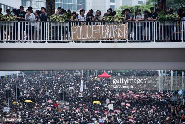 A banner shows the public discontent with the police force Despite the Chief Executive Carrie Lam's attempt to ease the heightened tension by...