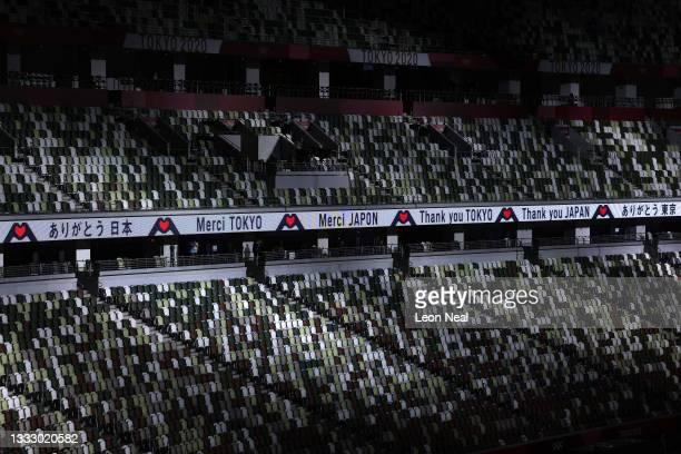 Banner thanking Tokyo and Japan is displayed during the Closing Ceremony of the Tokyo 2020 Olympic Games at Olympic Stadium on August 08, 2021 in...