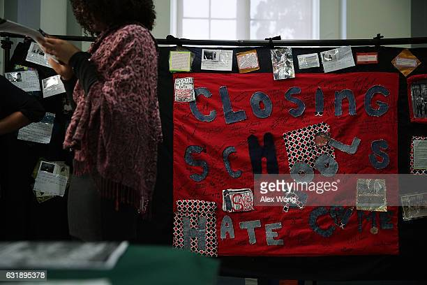 A banner that focuses on school hate crime is on display during an event on public education January 17 at Cannon House Office Building on Capitol...
