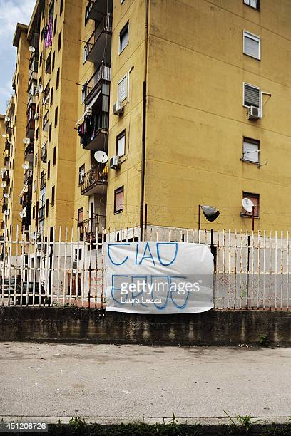 Banner that reads Ciao eroe dedicated to Ciro Esposito a Napoli fan died this morning is displayed on June 25, 2014 in the neighborhood of Scampia in...