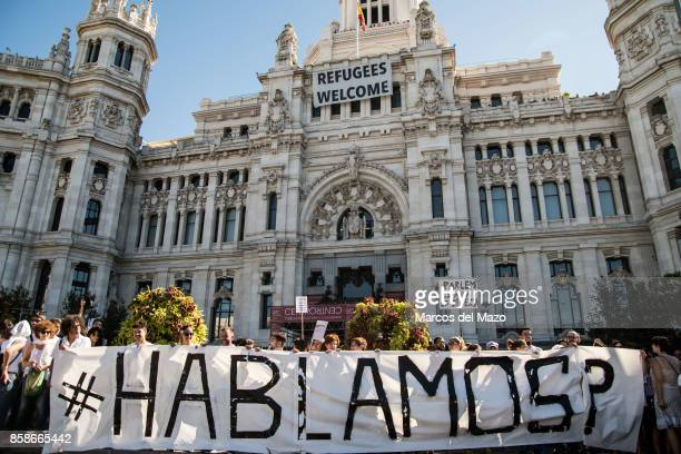 A banner that reads 'Let's talk' during a protest in front of the City Council demanding dialogue between Spanish Government and Catalonia ahead of a...
