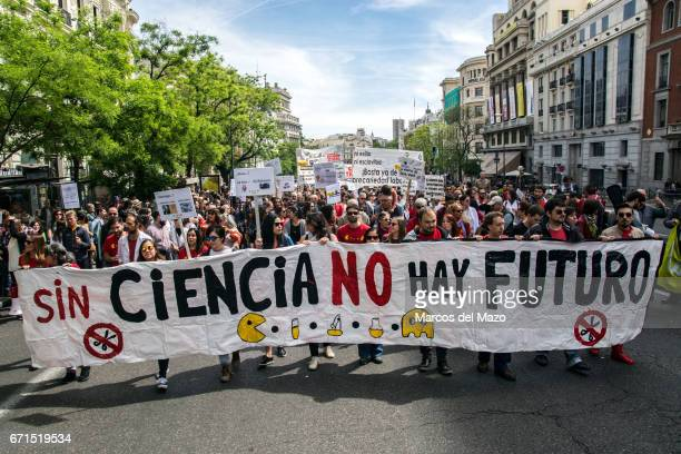 A banner that reads 'No future without science' where researchers and scientist protest against budget cuts in science during the March for Science
