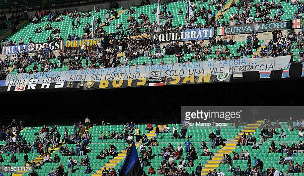 A banner to challenge the captain of Inter Mauro Icardi is displayed during the Serie A match between FC Internazionale and Cagliari Calcio at Stadio...