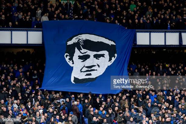 Banner to former player and manager Howard Kendall before the Premier League match between Everton and Manchester City at Goodison Park on March 31,...